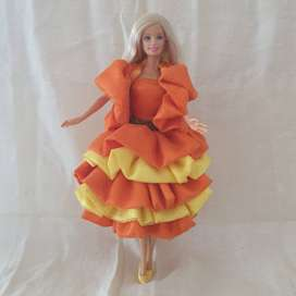 COLLECTIBLE BARBIE WITH HAND MADE DESIGNER'S DRESS