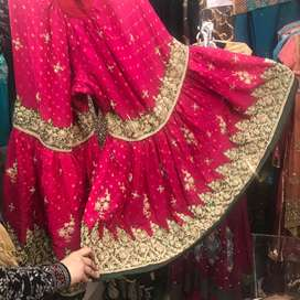 Pink Bridal Gharara Set with clutch