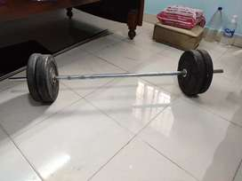 4 feet rod and 18 kg weight plates