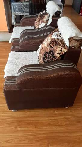 3+1+1 seater sofa with toughned black glass center table