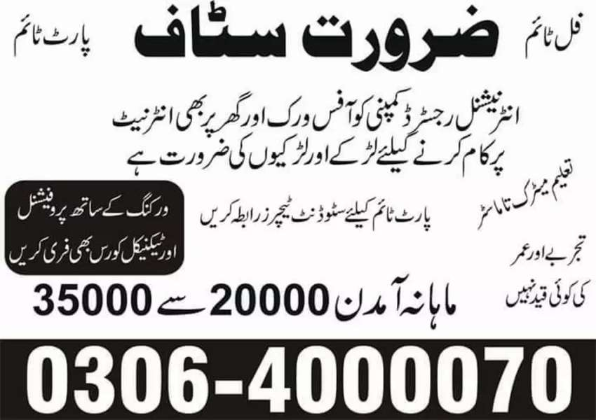 Part time, full time, home based job for students males females 0