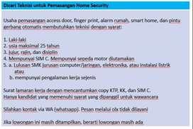 Dicari Teknisi Lulusan SMK untuk Pemasangan Home Security