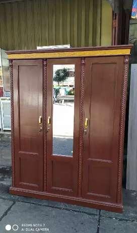 Lemari kayu baki 3 pintu bahan multiplek papan kayu+triplek 3mm