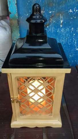 Salt lamp with amazing wooden frame