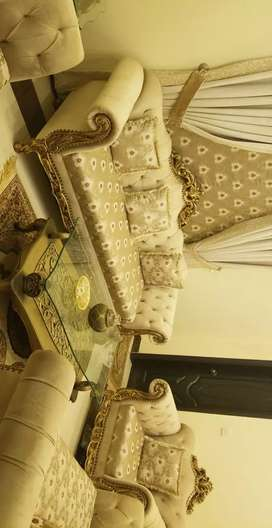 drawing room 7 seater sofa set with 3 tables with same fabric curtains