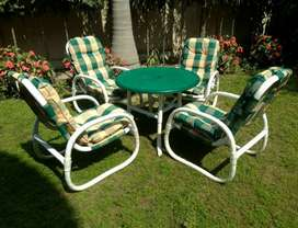 Swinging pool chairs  and garden chair and table