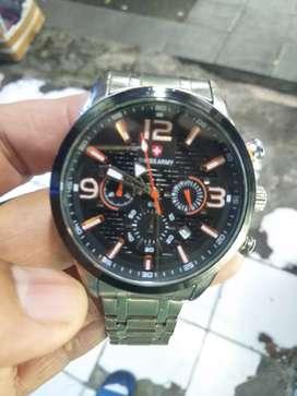Jual jam tangan pria dewasa#Swiss army*stainles silver strap#chrono on