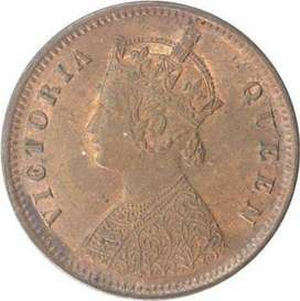 Old coin 1889 one quarter anna