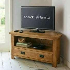 Meja tv minimalis moderen, P.100cm, bahan kayu jati asli 100%