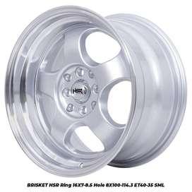 Jual velg ring16 BRISKET HSR R16X7/85 H8X100-114,3 ET40/35 SML
