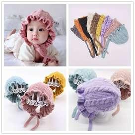 Topi Rajut Tebal Anak Perempuan Knitted Ruffle