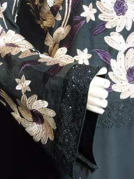 Abaya In Nida Staff With Embroidery with belbottom Designs