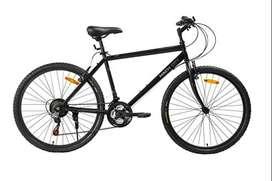 "Mach City iBike 21 speed 26"" (Matt Black) with bicycle helmet"