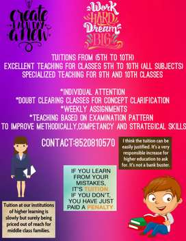 Tuitions available in saroornagar