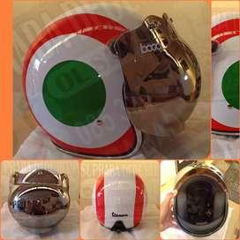 Helm motif Vespa kaca bubble original Bogo  baru dan part helm