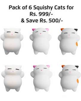 Get 6 Skinlee Cartoon Cat Squishy Toy Stress Relief Soft Mini Animal