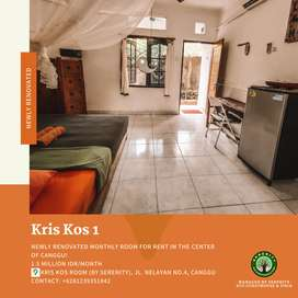 Newly renovated monthly room for rent in the center of Canggu!