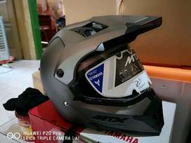 Helm Full Face Cross Yamaha MTX Ukuran XXL XL L Grey Abu Abu Baru 100%