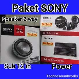 Paket sound SONY audio mobil full set speaker power sub for tv mobil