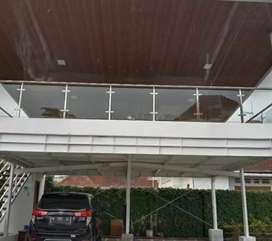 Balkon kaca stainless dan railing tangga kaca #4865