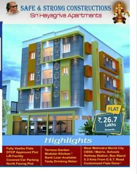 25 Lacs/ New Approved 2BHK Flats for Sale in Chengalpet(CHETTIPUNYAM)