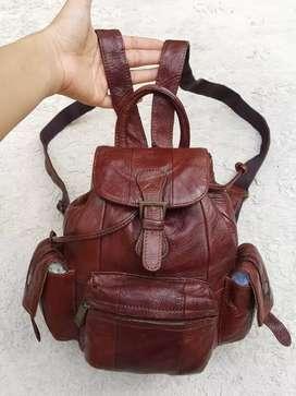 Tas import eks fashion Ransel/Backpack mini/kecil kulit asli tebal