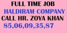 Haldiram company full time job store keeper helper supervisor