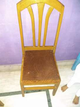 Brown Wooden Framed Red Padded Chair