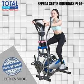 Alat fitnes sepeda statis Orbitrack plat fungsi 6in1 Total Gym Fitness