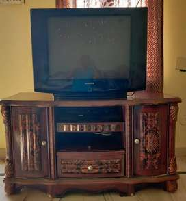 Wooden TV unit and Samsung TV