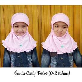 Jilbab vania curly polos (0-2 thn) & (4-7 tahun)