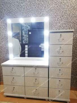 A vanity table with lots of drawers. Can order in any color.