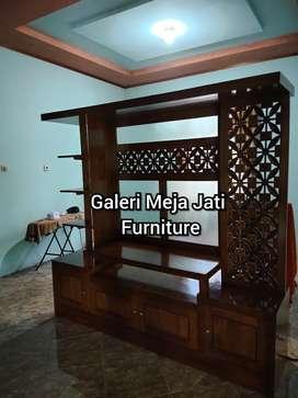 Almari minimalis meja Tv kayu jati B174 wood