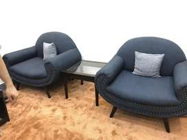 Set of 2 coffee chairs with cushions and center table