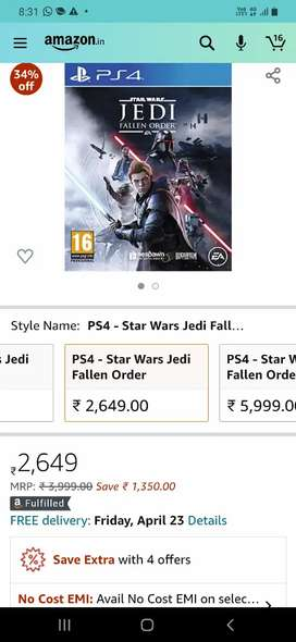 Ps4 game star war zedi fallen order