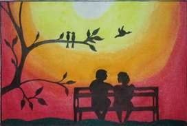 The Sunset Bench_An Oil Pastel Painting