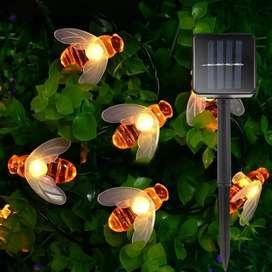 Finether Lampu Taman LED Solar Power Bentuk Lebah 30 LED 6 Meter