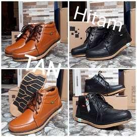 Sepatu boots pria kulit asli hitam - tan