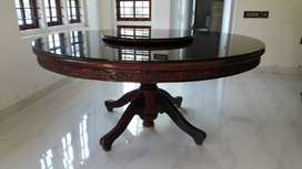 Round dining table 1 year old with lazy susan glass table top for 8.