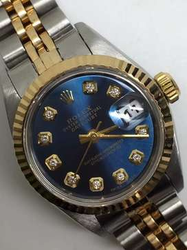 Rolex Ladies biru Navy Diamond Datejust watch