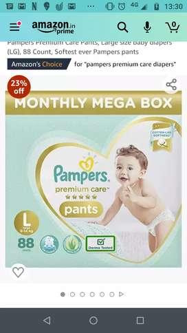 Sealed Pampers premium diapers -2 packs of 44 each