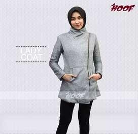 jaket long coat wanita abu