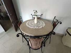 Marble Top Coffee table  with 4 chairs