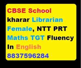 CBSE Secondary School For Require Librarian Female, NTT PRT Maths TGT