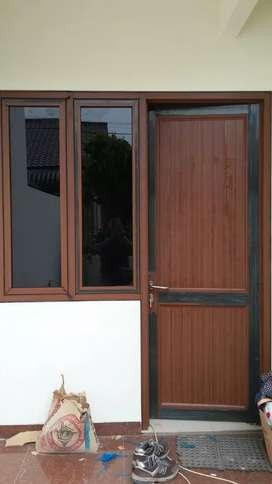 pintu atau jendela aluminium motif urat kayu klasik