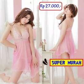 Baju Tidur Halus Lembut Pink Lingerie Seksi Bahan Lace
