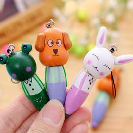2 Pieces Mini Wooden Cartoon Animal Ballpoint Pen Pendant