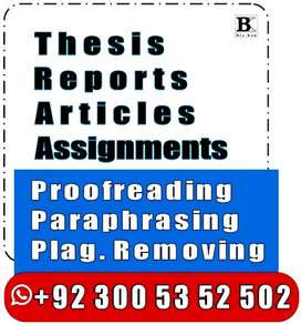 ACADEMIC Writing -PROOFREADING -Plagiarism Removal frm THESIS Reports-