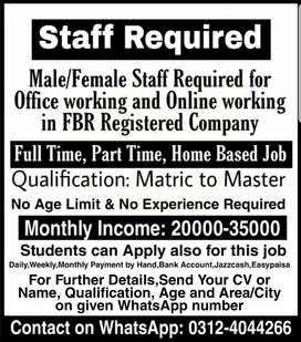 Staff Required (Full-Time,Part-time,Home Based jobs for Males,Females)