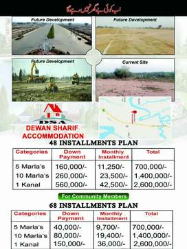 Residential plots are available on easy monthly installment plan